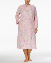 Miss Elaine Plus Size Plush Zip Front Long Robe Lilac Pink