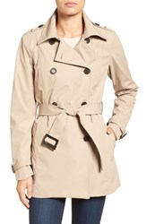Larry Levine Women's Water Resistant Trench Coat Khaki