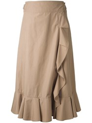 Muveil Elasticated Detailing Ruffled Skirt Women Cotton Polyester 38 Brown