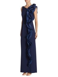 Rickie Freeman For Teri Jon Scuba Side Ruffle Navy Dress