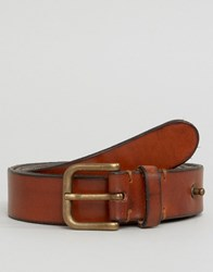 Selected Homme Belt In Leather Cognac Brown