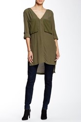 Astr Silk Blend Hi Lo Tunic Green