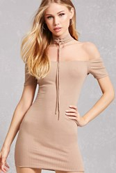 Forever 21 Ribbed Lace Up Choker Dress Taupe