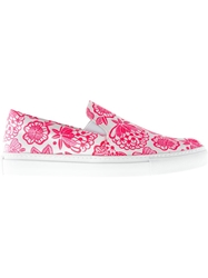 Christopher Kane Flower Print Slip Ons Pink And Purple