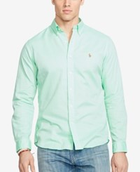 Polo Ralph Lauren Big And Tall Men's Long Sleeve Chambray Oxford Shirt Lime Green