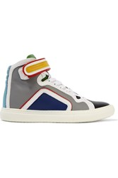 Pierre Hardy Color Block Leather High Top Sneakers Gray