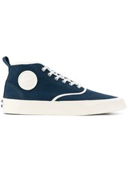 Maison Kitsune Chambray Mid Top Sneakers Blue