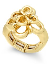 Charter Club Gold Tone Flower Stretch Ring Only At Macy's