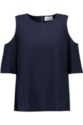 Tanya Taylor Iris Cutout Jacquard Top Midnight Blue