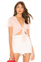 By The Way Aylin Star Embellished Tie Crop Top Pink