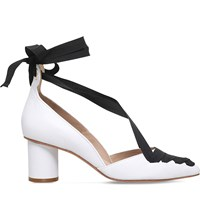 Kurt Geiger Mayfair Leather Ribbon Courts White