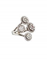 Neiman Marcus 14K White Gold 4 Row Diamond Flower Ring 1.5Tcw