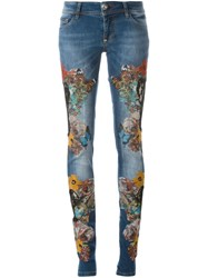 Philipp Plein 'Blooming' Jeans Blue