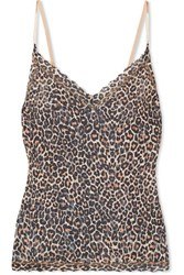 Hanky Panky Satin Trimmed Leopard Print Stretch Lace Camisole Leopard Print