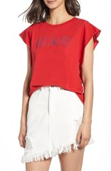 Project Social T Oui Oui Embroidered Tee Parisian Red