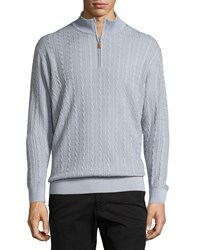 Robert Talbott Washed Cable Mock Neck Sweater Blue