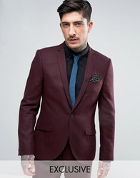 Heart And Dagger Skinny Blazer In Texture Burgundy Red