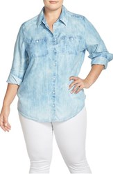 Plus Size Women's Foxcroft Tencel Lyocell Chambray Long Sleeve Shirt