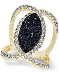 Inc International Concepts Jet And Clear Pave Gold Tone Ring Only At Macy's Black