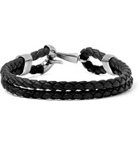 Bottega Veneta Intrecciato Leather And Burnished Silver Tone Bracelet Black
