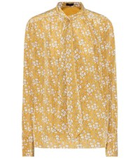 Joseph Printed Silk Pussy Bow Blouse Yellow