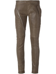 Rick Owens Asymmetric Zip Skinny Trousers Grey