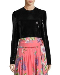 Diane Von Furstenberg Long Sleeve Sequined Crop Top Black