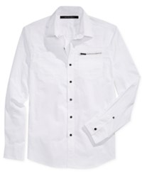 Sean John Men's Big And Tall Long Sleeve Zip Pocket Twill Shirt Only At Macy's White