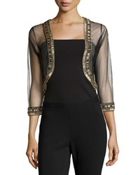 Badgley Mischka Beaded Sheer Bolero Jacket Black