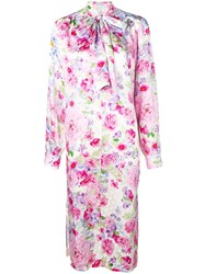 Saks Potts Pussy Bow Floral Dress Pink And Purple