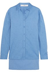 Tibi Stretch Cotton Chambray Shirt Blue