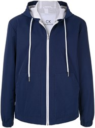 Ck Calvin Klein Contrast Detail Hooded Jacket Blue