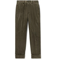 Margaret Howell Tapered Pleated Cotton Corduroy Trousers Green