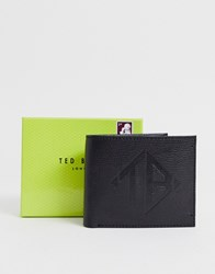 Ted Baker Meoe Embossed Logo Leather Bi Fold Wallet In Black