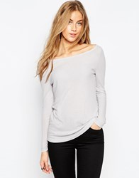 Asos Top With Off Shoulder Detail In Slouchy Rib Grey