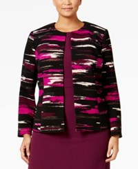 Kasper Plus Size Liverpool Brushstroke Print Blazer Purple Multi