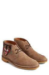 Gucci Men's New Moreau Embroidered Chukka Boot Beige Multi