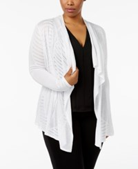 Inc International Concepts Plus Size Pointelle Knit Draped Cardigan Only At Macy's Bright White