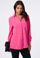 Missguided Slim Fit Single Pocket Shirt Hot Pink Pink