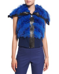 Elie Tahari Karina Fur Vest W Leather Trim