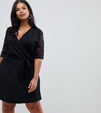 Pink Clove Wrap Dress With Lace Sleeves Black