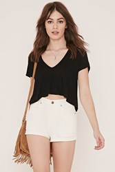 Forever 21 High Waisted Denim Shorts Cream