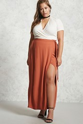 Forever 21 Plus Size Wrap Maxi Skirt Ginger