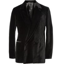 Berluti Black Unstructured Double Breasted Velvet Blazer