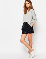 Boss Orange Faux Leather Shorts Dark Blue