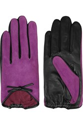 Agnelle Bow Embellished Suede And Leather Gloves