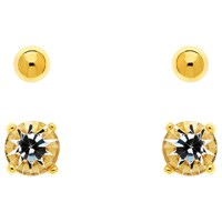 Melissa Odabash Crystal Double Stud Earrings Gold