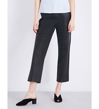 J Brand Amari Straight Cropped Leather Trousers Black
