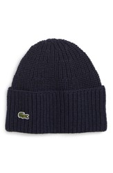 Lacoste Ribbed Wool Beanie Blue