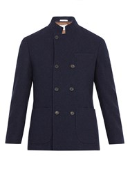 Brunello Cucinelli Double Breasted Cashmere Coat Navy